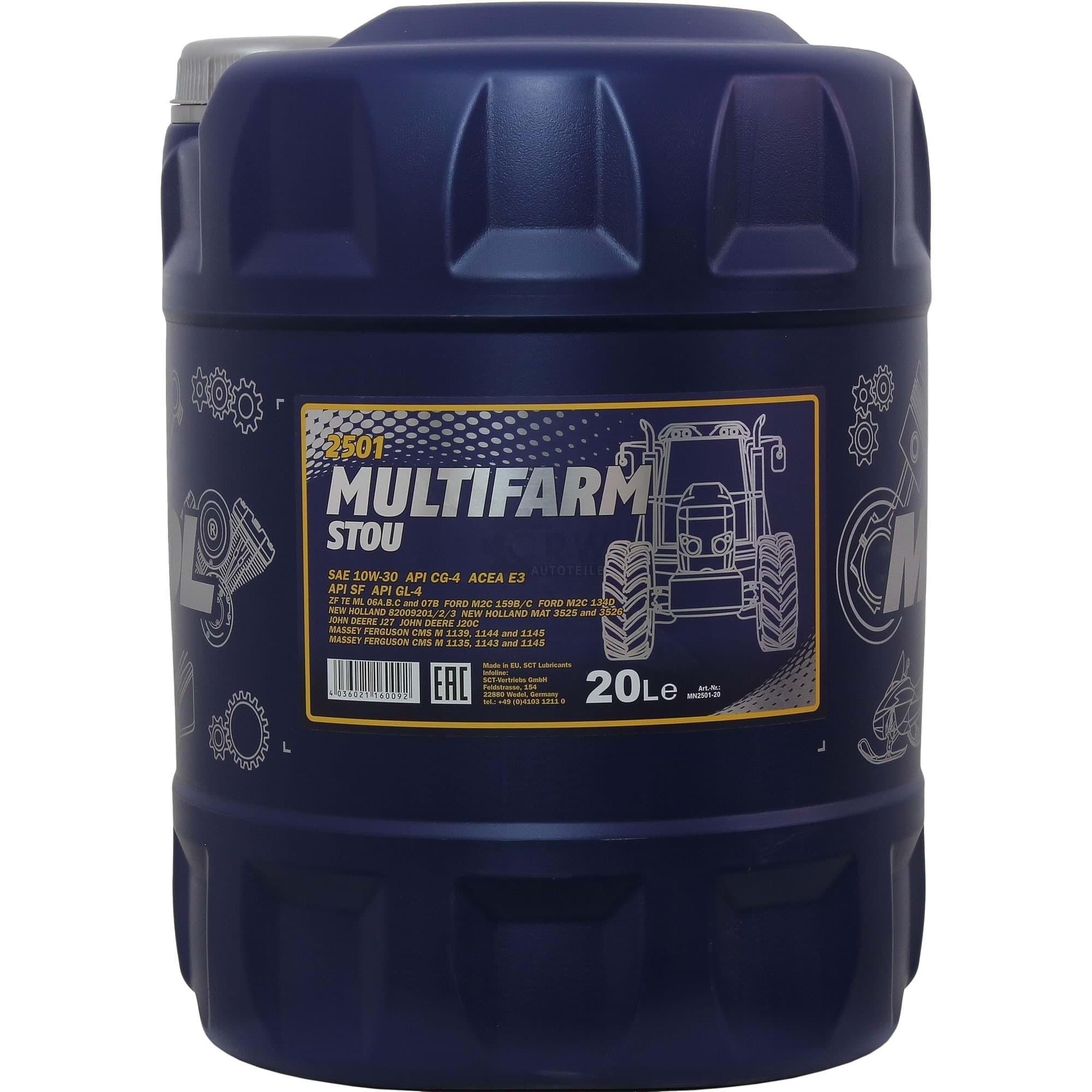 3x 20 Liter Mannol Motoröl Sae10w 30w Multifarm Stou Engine Oil öl