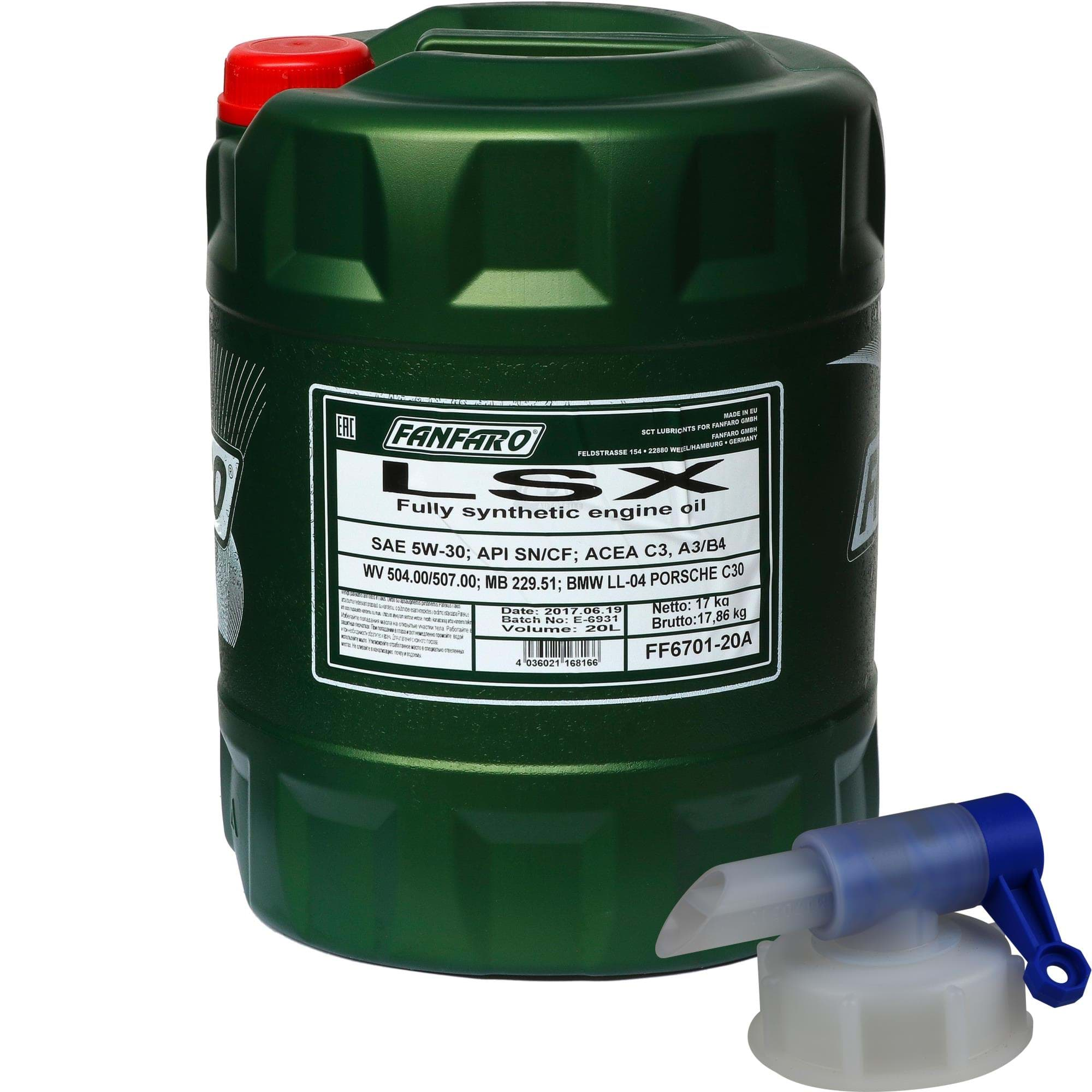 Top 20 L FANFARO LSX 5W-30 API SN/CF Motoröl Öl vollsynthetisch Oil + &QH_79