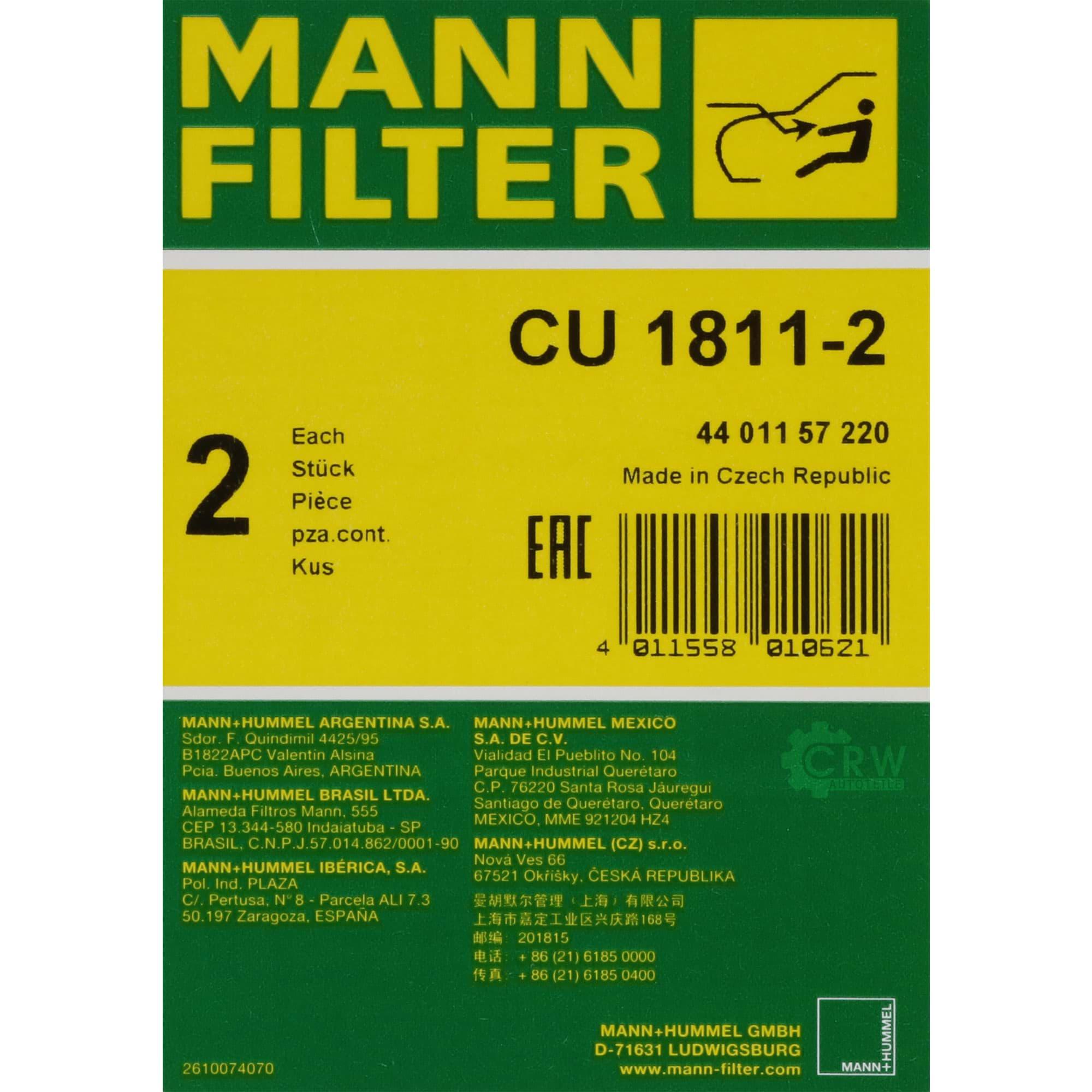 Innenraumfilter MANN FILTER CU 1811-2